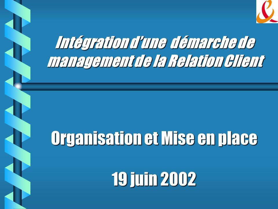 Intégration dune démarche de management de la Relation Client Organisation et Mise en place 19 juin 2002