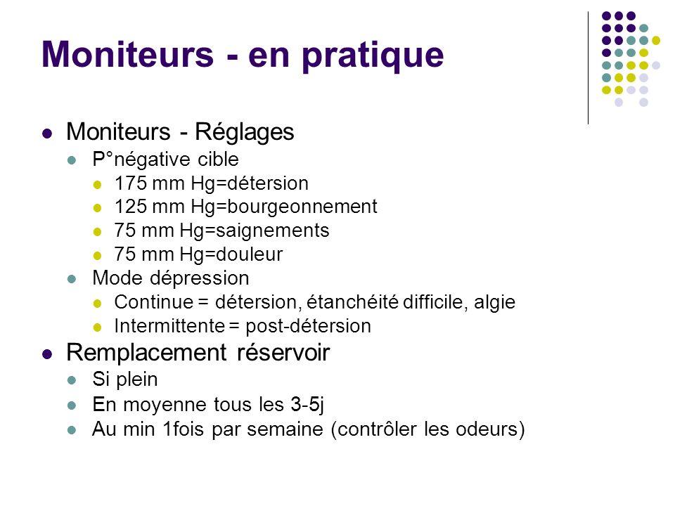 Moniteurs - en pratique Moniteurs - Réglages P°négative cible 175 mm Hg=détersion 125 mm Hg=bourgeonnement 75 mm Hg=saignements 75 mm Hg=douleur Mode