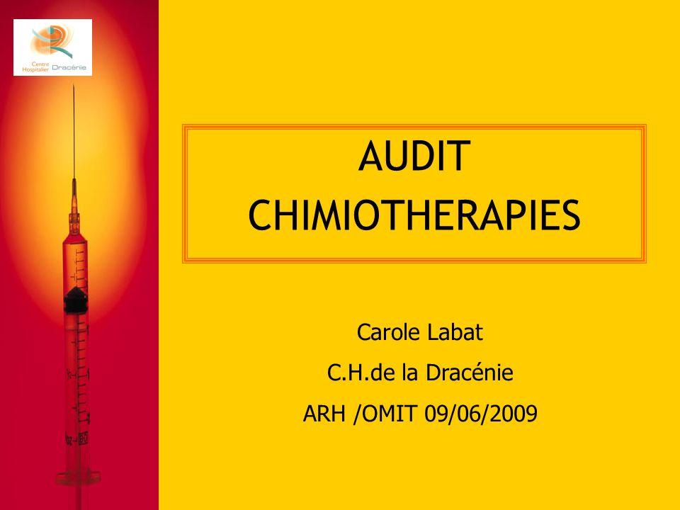AUDIT CHIMIOTHERAPIES Carole Labat C.H.de la Dracénie ARH /OMIT 09/06/2009