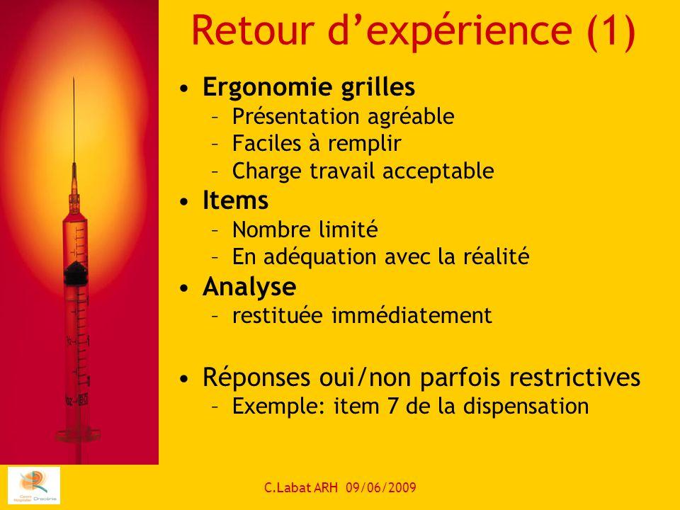 C.Labat ARH 09/06/2009 Retour dexpérience (1) Ergonomie grilles –Présentation agréable –Faciles à remplir –Charge travail acceptable Items –Nombre lim