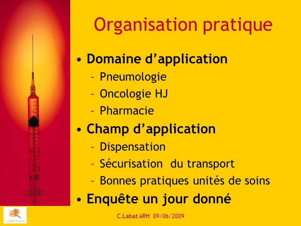 C.Labat ARH 09/06/2009 Organisation pratique Domaine dapplication –Pneumologie –Oncologie HJ –Pharmacie Champ dapplication –Dispensation –Sécurisation