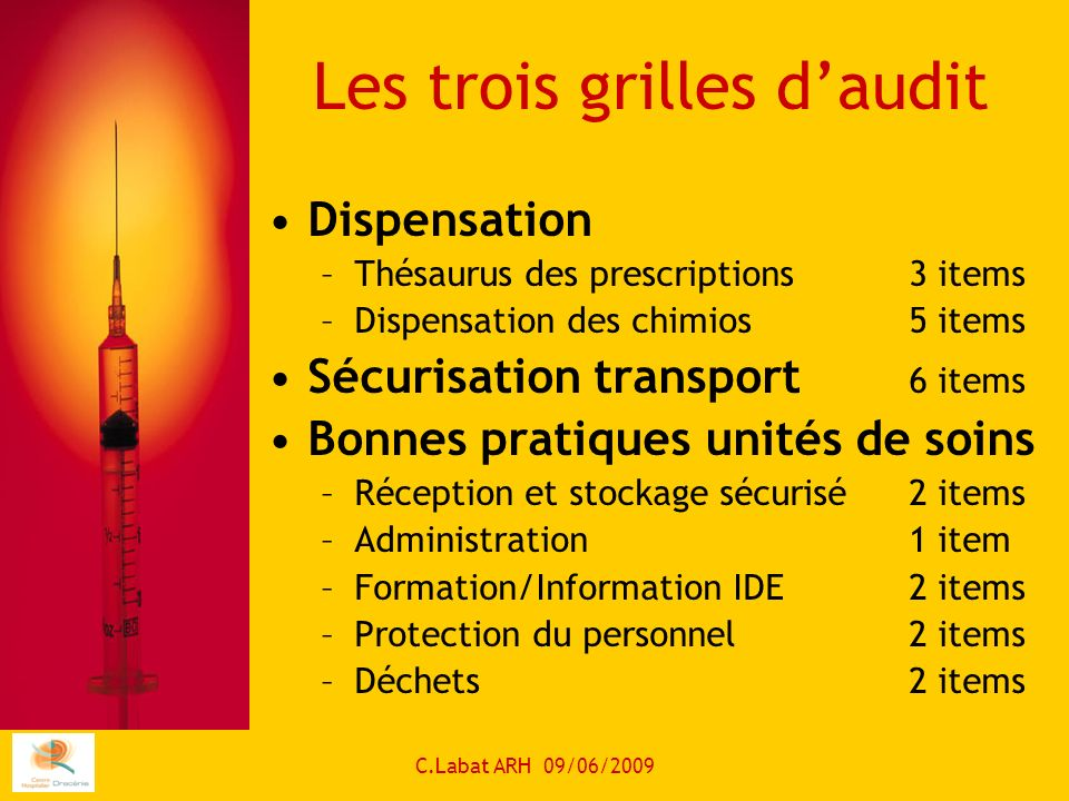 C.Labat ARH 09/06/2009 Les trois grilles daudit Dispensation –Thésaurus des prescriptions3 items –Dispensation des chimios5 items Sécurisation transport 6 items Bonnes pratiques unités de soins –Réception et stockage sécurisé2 items –Administration 1 item –Formation/Information IDE 2 items –Protection du personnel2 items –Déchets 2 items