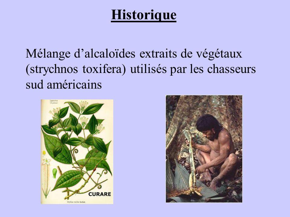 Historique Mélange dalcaloïdes extraits de végétaux (strychnos toxifera) utilisés par les chasseurs sud américains