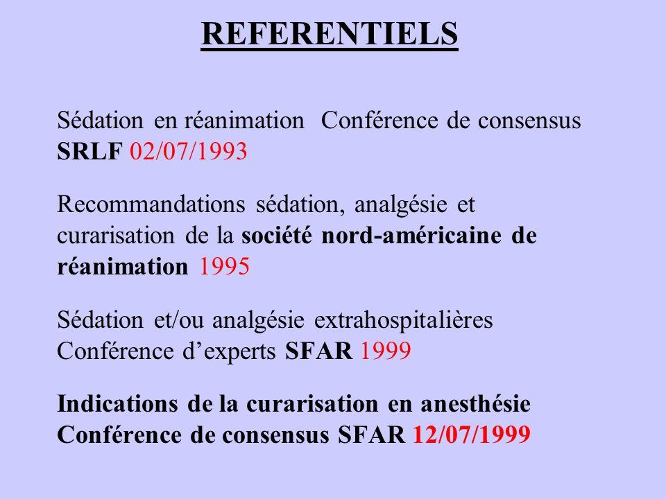 REFERENTIELS Recommandations pour la pratique Clinique de la sédation, analgésie et curarisation en réanimation SFAR / SRLF / SFUM 2000 (Ann Fr Anesth Réanim 2000 19:98-105 et Réanim Urgences 2000 8 suppl 2) Prévention du risque allergique peranesthésique RPC SFAR 2001 Prise en charge des voies aériennes en anesthésie adulte Conférence de consensus SFAR 2002