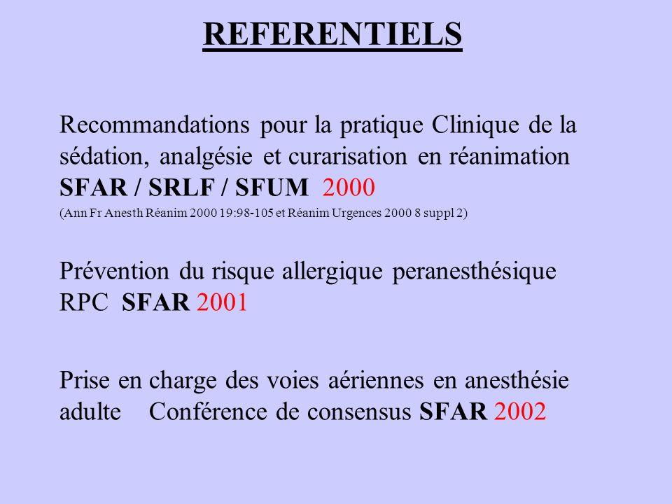 REFERENTIELS Recommandations pour la pratique Clinique de la sédation, analgésie et curarisation en réanimation SFAR / SRLF / SFUM 2000 (Ann Fr Anesth