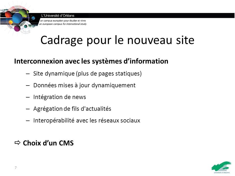 Cadrage pour le nouveau site Interconnexion avec les systèmes dinformation – Site dynamique (plus de pages statiques) – Données mises à jour dynamiquement – Intégration de news – Agrégation de fils d actualités – Interopérabilité avec les réseaux sociaux Choix dun CMS 7