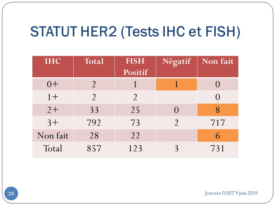 Journée OMIT 9 juin 2009 24 IHCTotalFISH Positif NégatifNon fait 0+2110 1+220 2+332508 3+792732717 Non fait28226 Total8571233731 STATUT HER2 (Tests IH