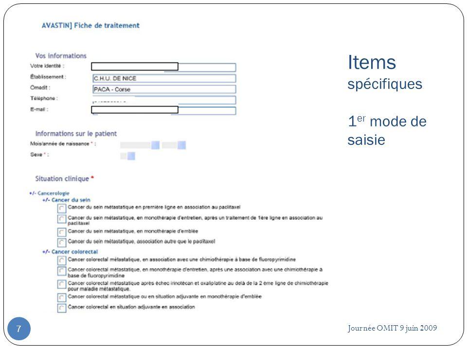 Journée OMIT 9 juin 2009 8 Items spécifiques 2 ème mode de saisie