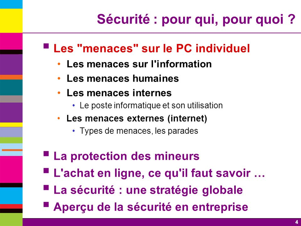5 Les menaces du PC Les menaces du poste informatique Les menaces internes Menaces sur linformation Menaces humaines Menaces provenant du matériel Menaces logicielles Les menaces externes