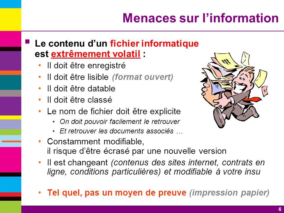7 Nouvelles menaces sur linformation Les D.R.M.