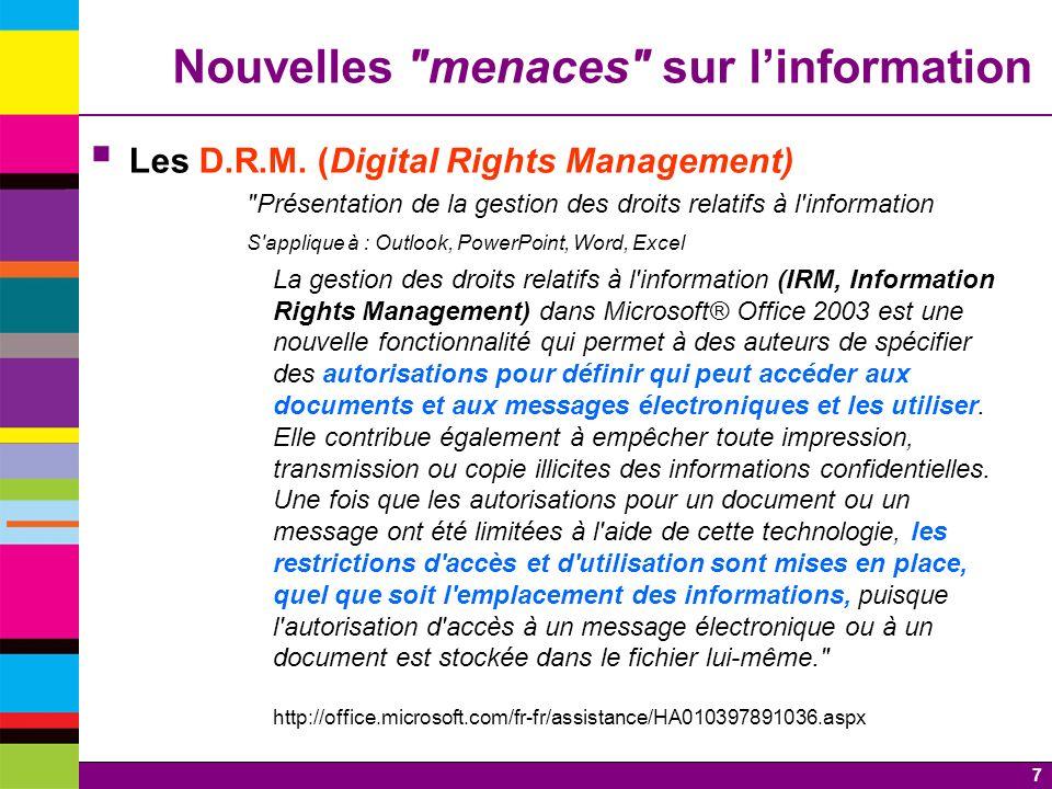 8 Les D.R.M.