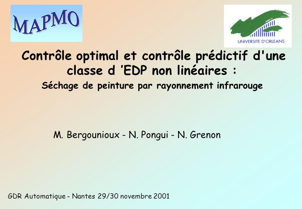Contrôle optimal et contrôle prédictif d'une classe d EDP non linéaires : Séchage de peinture par rayonnement infrarouge M. Bergounioux - N. Pongui -