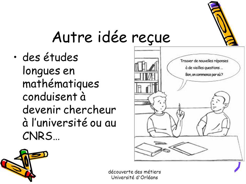 découverte des métiers Université d'Orléans Une idée reçue Faire des études de mathématiques à luniversité conduit à devenir enseignant..