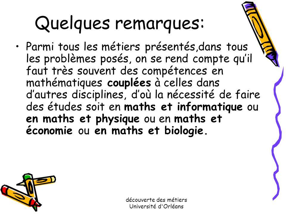 découverte des métiers Université d'Orléans Quelques remarques: Pour résumer, voici donc une liste de débouchés possibles après des études de mathémat
