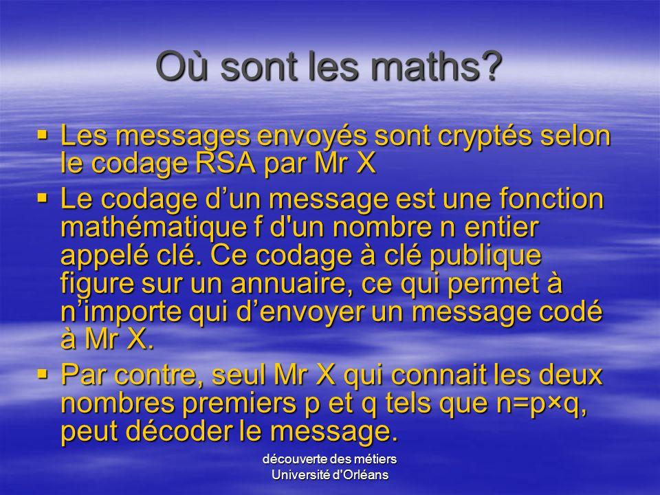 découverte des métiers Université d'Orléans Les compétences à avoir? Une bonne connaissance de linformatique alliée à une solide culture mathématique