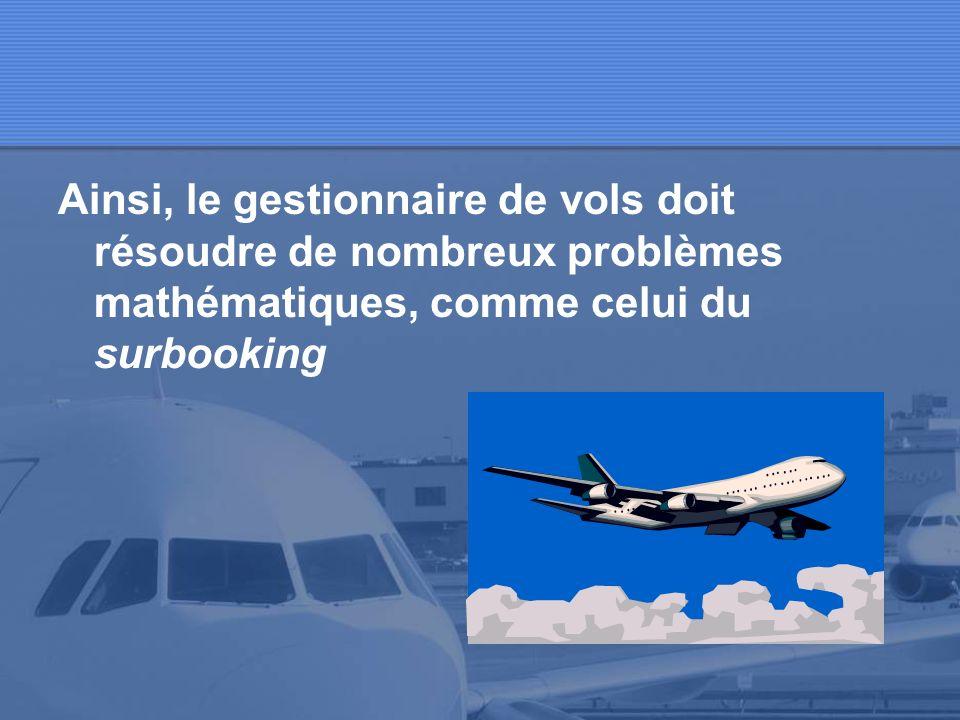 Loptimisation de la recette des vols pour une compagnie aérienne est un problème mathématique très complexe. Cest très peu rentable quun avion parte à