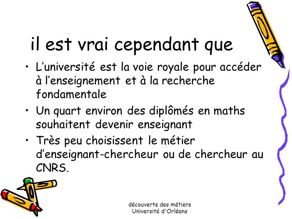 découverte des métiers Université d'Orléans Ce qui a bousculé ces idées Le principal changement dans les utilisations des mathématiques vient de l'usa