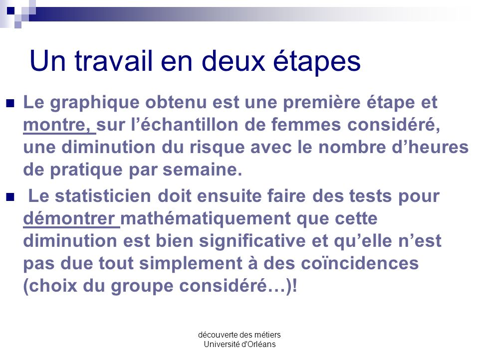 découverte des métiers Université d'Orléans Risque relatif de cancer du sein chez les femmes exerçant une activité physique de loisir intense. risque