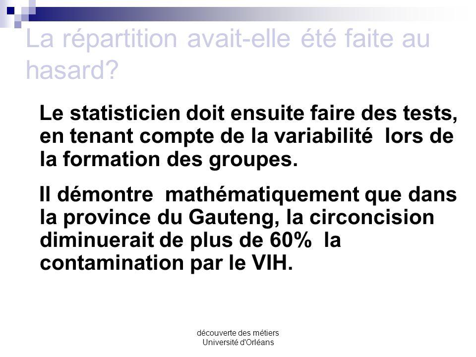 découverte des métiers Université d'Orléans Les résultats Les résultats obtenus montrent que, sur léchantillon considéré, le pourcentage de contaminés