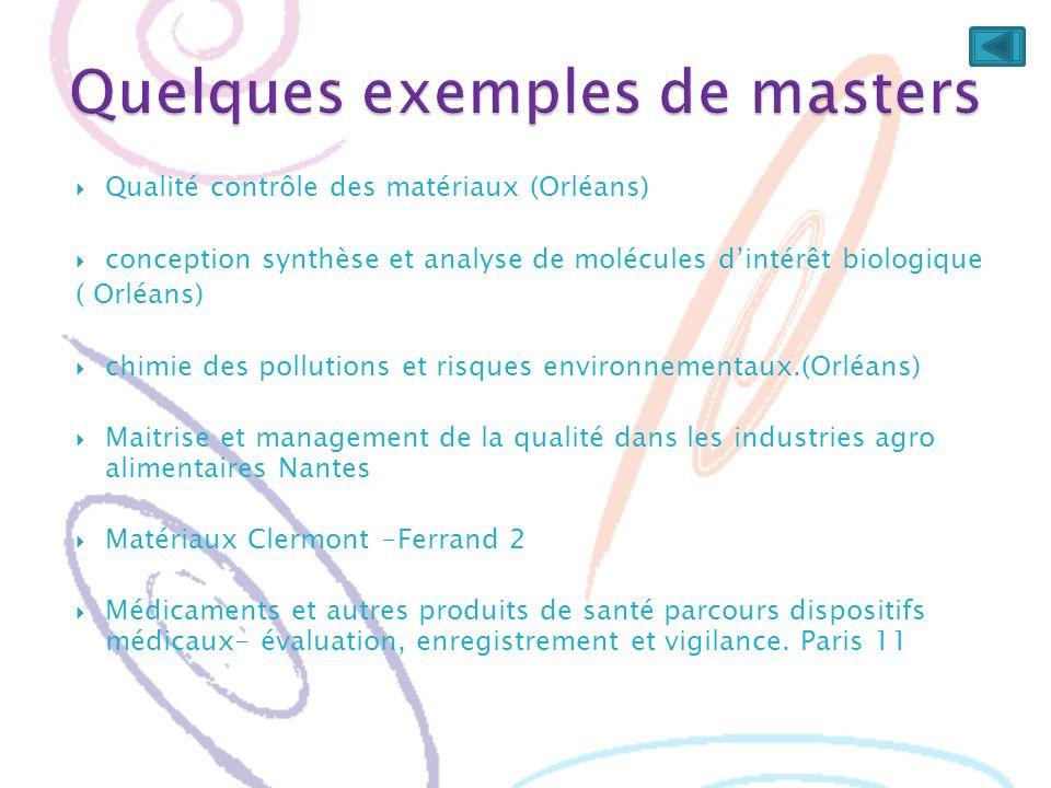 Qualité contrôle des matériaux (Orléans) conception synthèse et analyse de molécules dintérêt biologique ( Orléans) chimie des pollutions et risques e