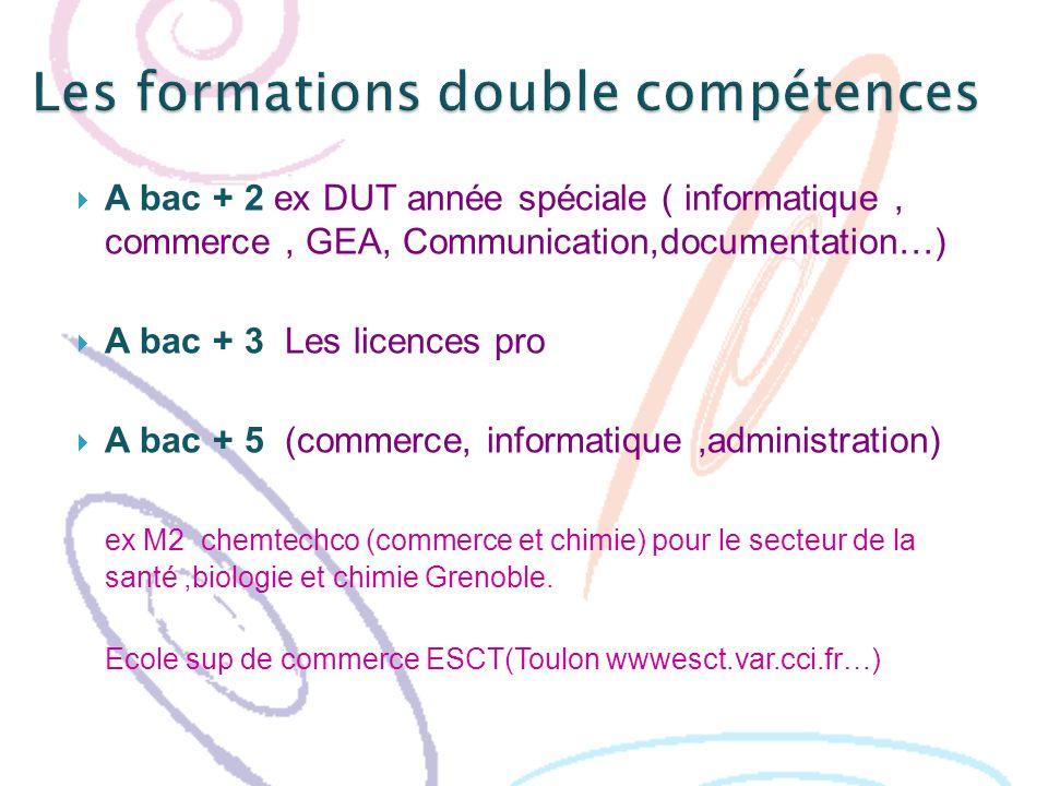 A bac + 2 ex DUT année spéciale ( informatique, commerce, GEA, Communication,documentation…) A bac + 3 Les licences pro A bac + 5 (commerce, informati
