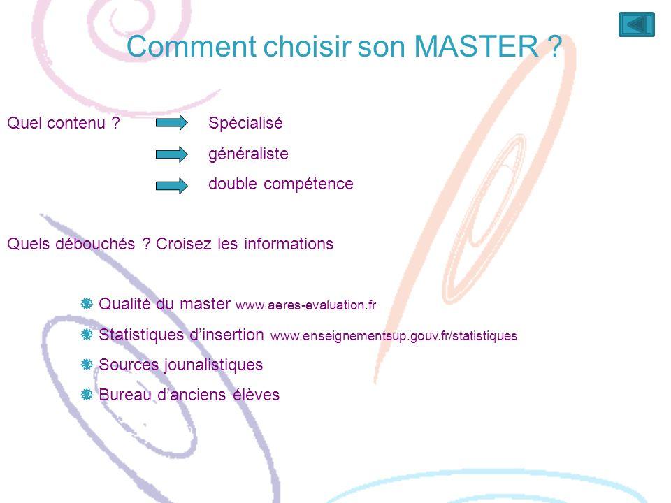 Comment choisir son MASTER ? Quel contenu ? Spécialisé généraliste double compétence Quels débouchés ? Croisez les informations Qualité du master www.