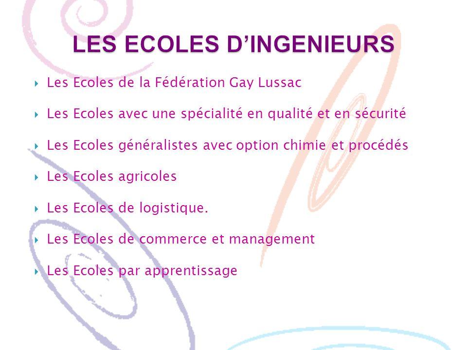 Les Ecoles de la Fédération Gay Lussac Les Ecoles avec une spécialité en qualité et en sécurité Les Ecoles généralistes avec option chimie et procédés