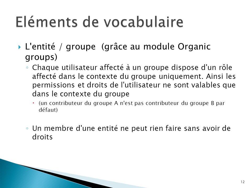 L'entité / groupe (grâce au module Organic groups) Chaque utilisateur affecté à un groupe dispose d'un rôle affecté dans le contexte du groupe uniquem