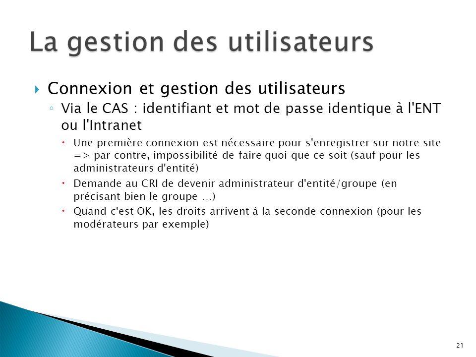 Connexion et gestion des utilisateurs Via le CAS : identifiant et mot de passe identique à l'ENT ou l'Intranet Une première connexion est nécessaire p