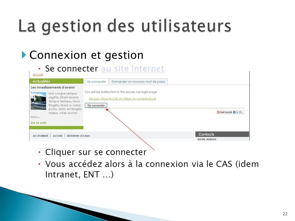 Connexion et gestion Se connecter au site Internetau site Internet Cliquer sur se connecter Vous accédez alors à la connexion via le CAS (idem Intrane