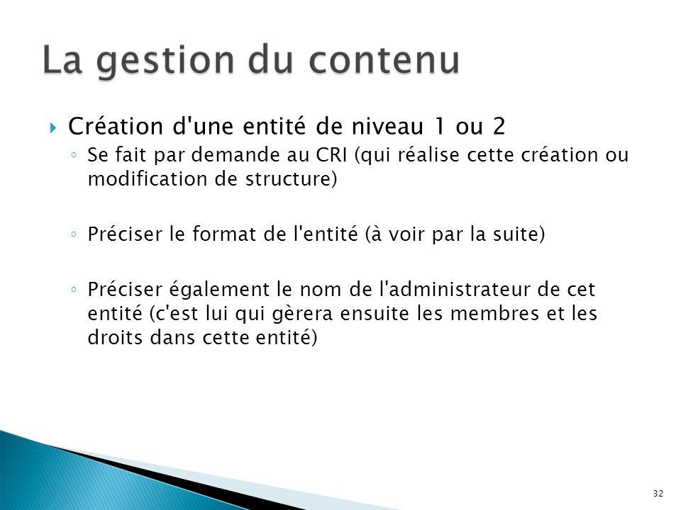 Création d'une entité de niveau 1 ou 2 Se fait par demande au CRI (qui réalise cette création ou modification de structure) Préciser le format de l'en