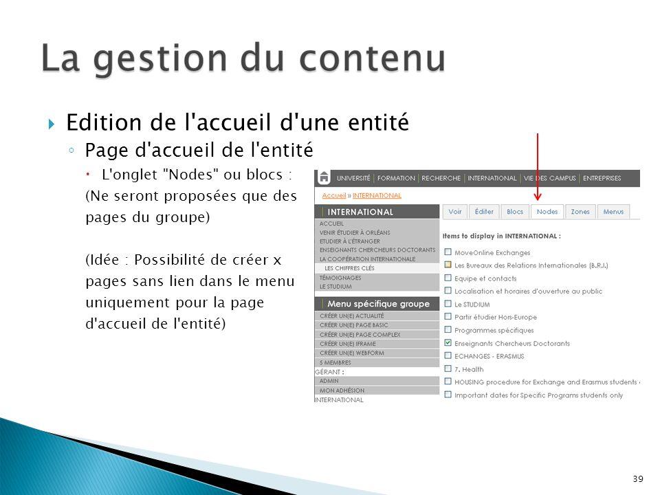 Edition de l'accueil d'une entité Page d'accueil de l'entité L'onglet