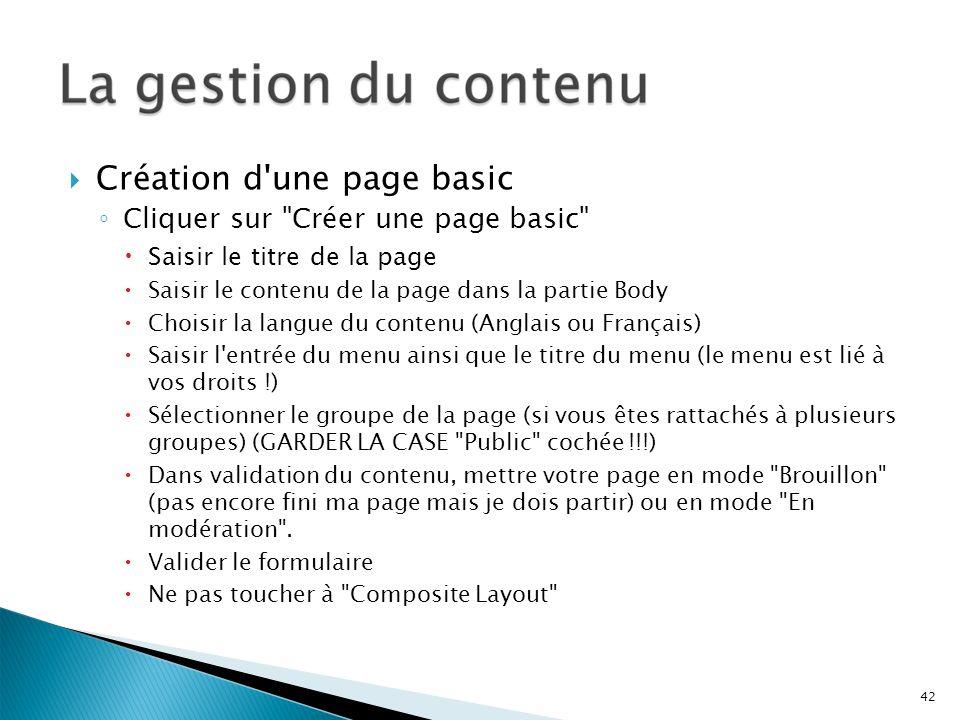 Création d'une page basic Cliquer sur