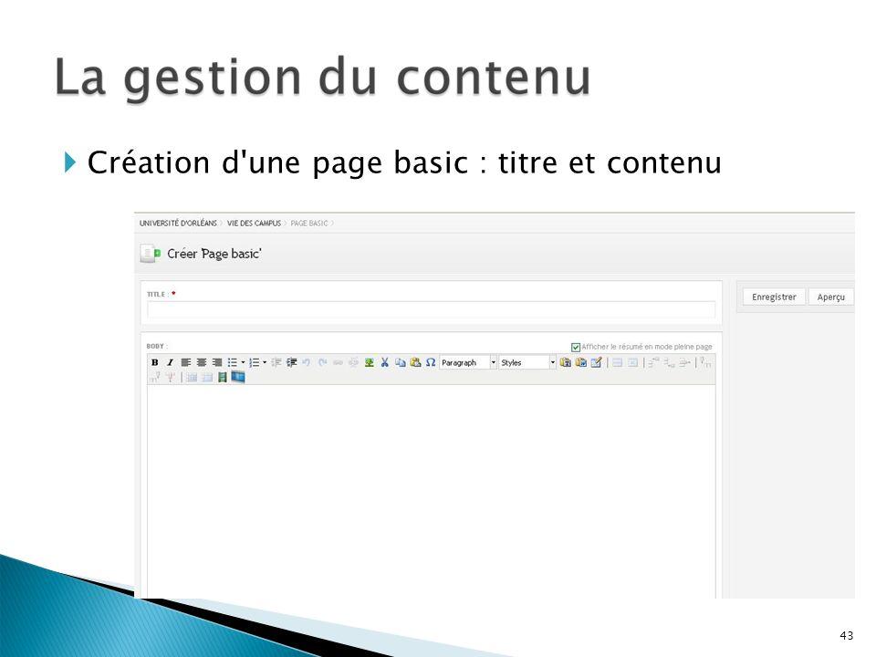 Création d'une page basic : titre et contenu 43