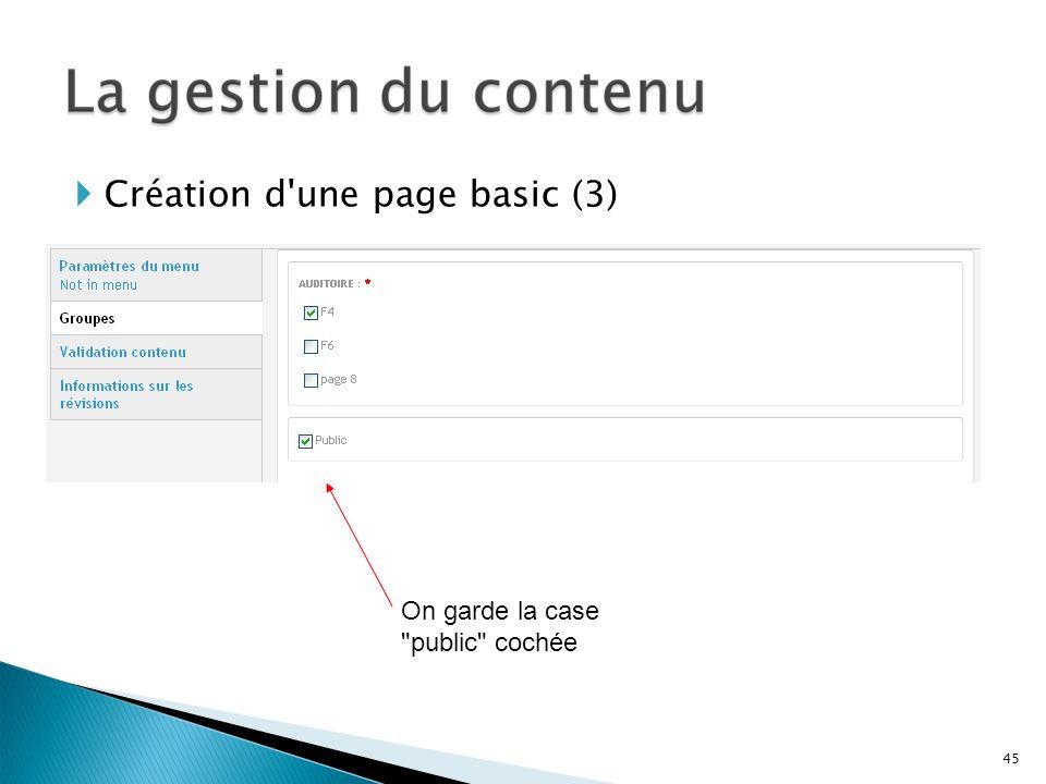 Création d'une page basic (3) On garde la case
