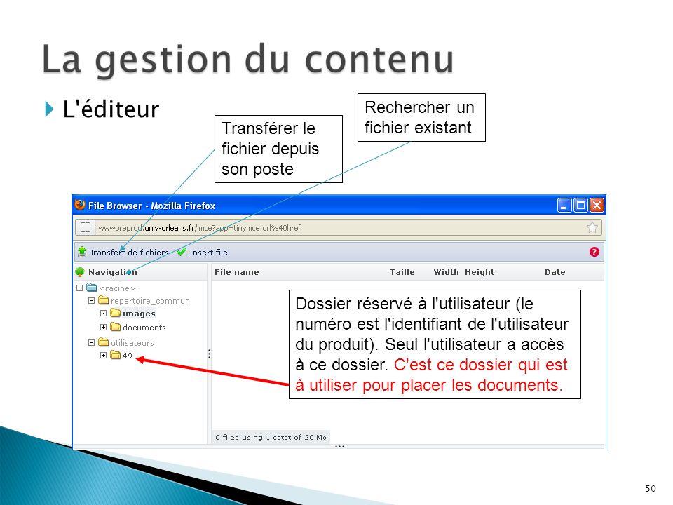 Transférer le fichier depuis son poste Rechercher un fichier existant L'éditeur Dossier réservé à l'utilisateur (le numéro est l'identifiant de l'util