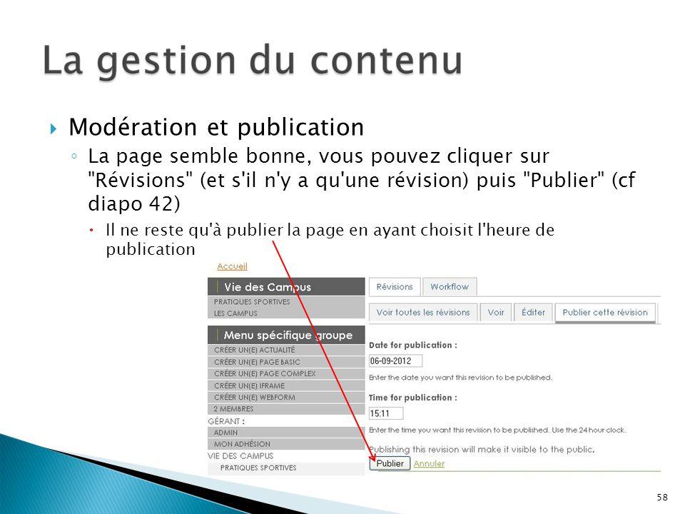 Modération et publication La page semble bonne, vous pouvez cliquer sur