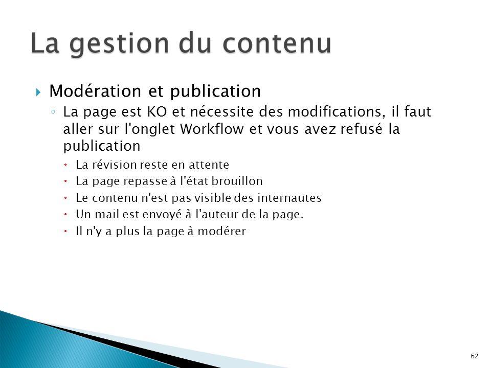 Modération et publication La page est KO et nécessite des modifications, il faut aller sur l'onglet Workflow et vous avez refusé la publication La rév