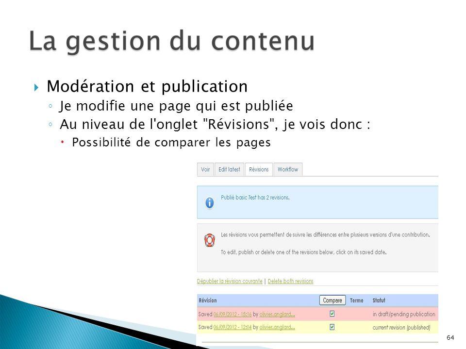 Modération et publication Je modifie une page qui est publiée Au niveau de l'onglet