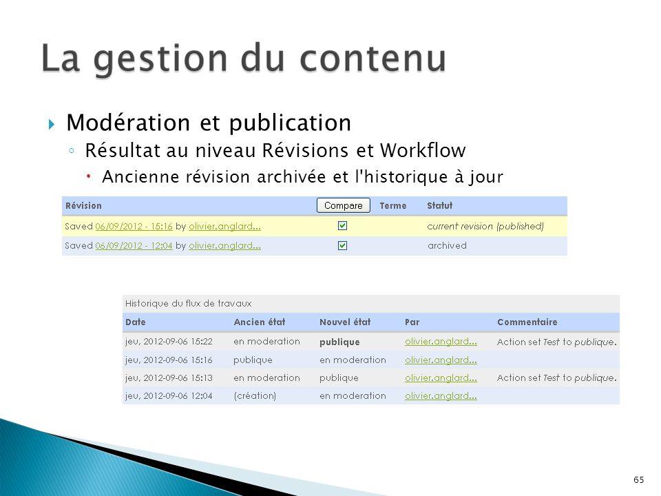 Modération et publication Résultat au niveau Révisions et Workflow Ancienne révision archivée et l'historique à jour 65