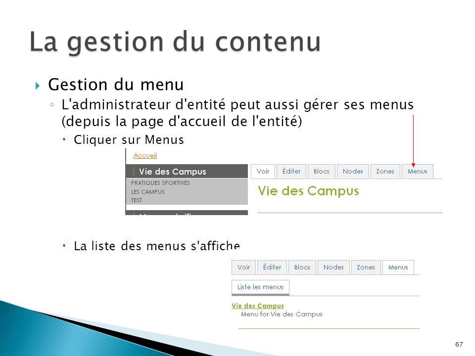 Gestion du menu L'administrateur d'entité peut aussi gérer ses menus (depuis la page d'accueil de l'entité) Cliquer sur Menus La liste des menus s'aff