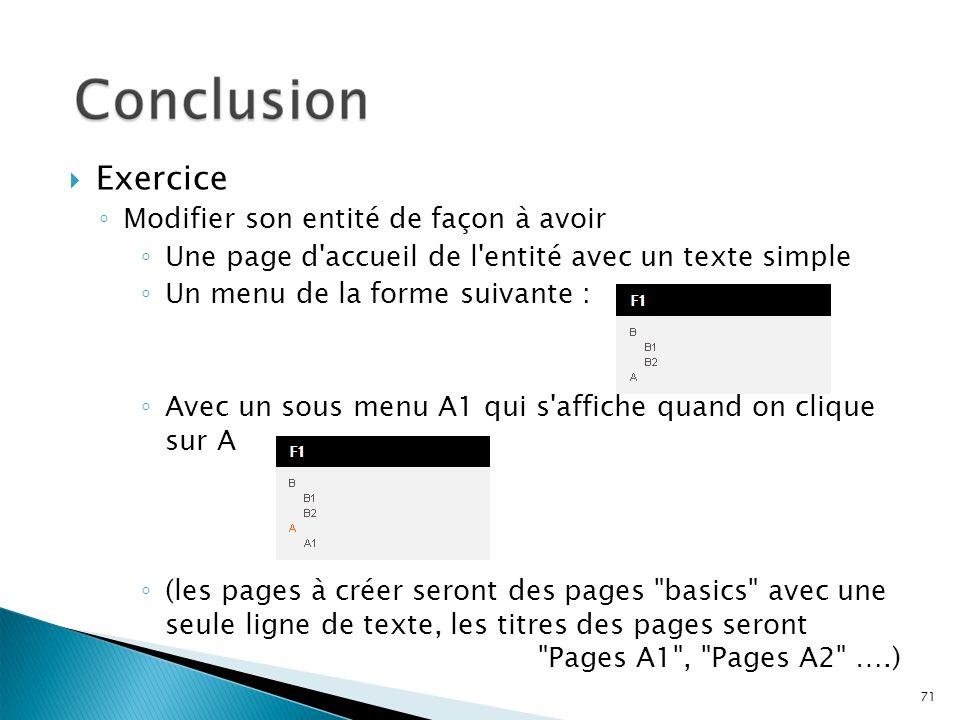 71 Exercice Modifier son entité de façon à avoir Une page d'accueil de l'entité avec un texte simple Un menu de la forme suivante : Avec un sous menu