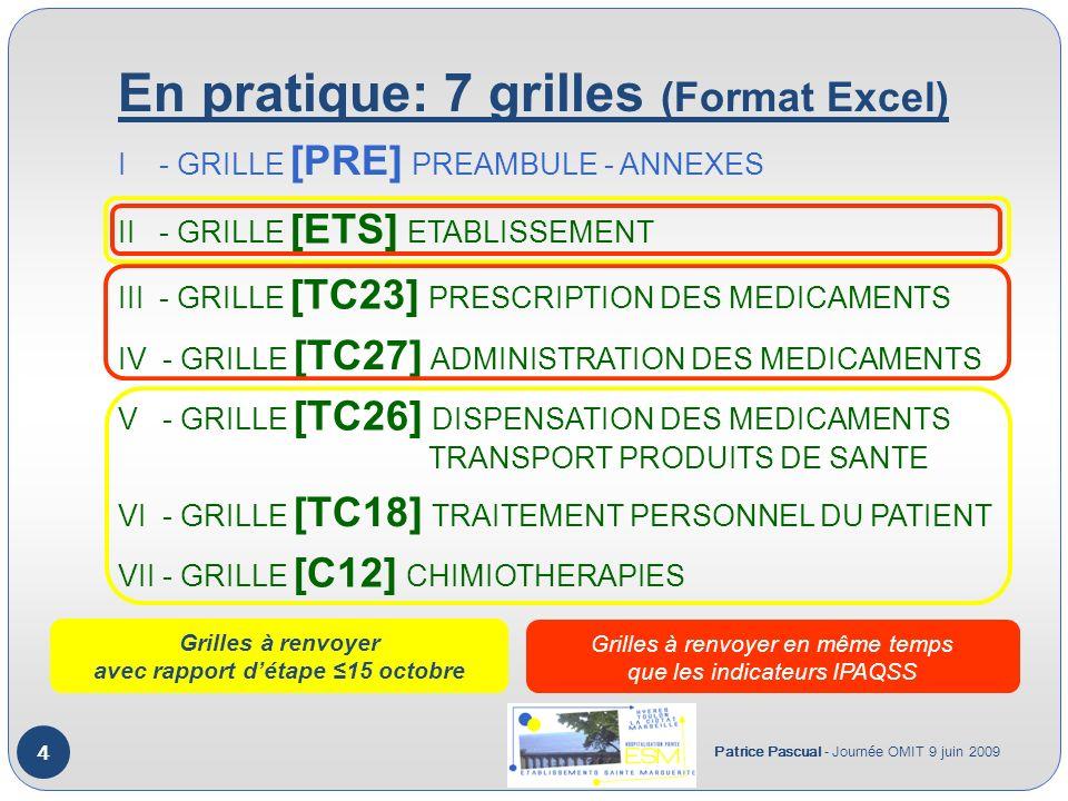 En pratique: 7 grilles (Format Excel) Patrice Pascual - Journée OMIT 9 juin 2009 4 I - GRILLE [PRE] PREAMBULE - ANNEXES II - GRILLE [ETS] ETABLISSEMENT III - GRILLE [TC23] PRESCRIPTION DES MEDICAMENTS IV - GRILLE [TC27] ADMINISTRATION DES MEDICAMENTS V - GRILLE [TC26] DISPENSATION DES MEDICAMENTS TRANSPORT PRODUITS DE SANTE VI - GRILLE [TC18] TRAITEMENT PERSONNEL DU PATIENT VII - GRILLE [C12] CHIMIOTHERAPIES Grilles à renvoyer avec rapport détape 15 octobre Grilles à renvoyer en même temps que les indicateurs IPAQSS
