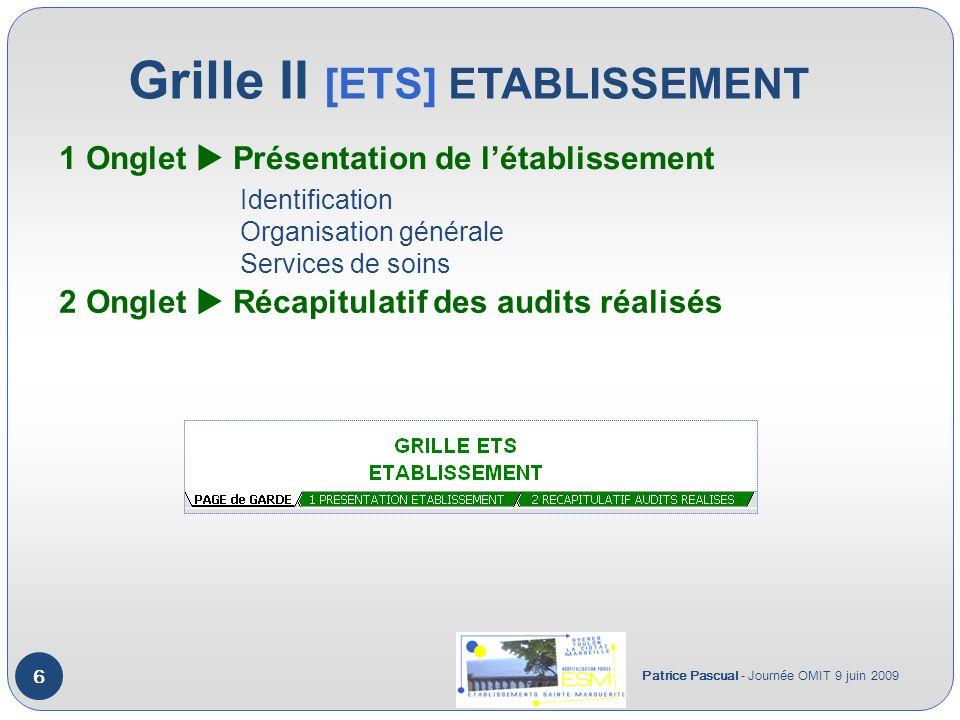 Grille II [ETS] ETABLISSEMENT Patrice Pascual - Journée OMIT 9 juin 2009 6 1 Onglet Présentation de létablissement 2 Onglet Récapitulatif des audits réalisés Identification Organisation générale Services de soins