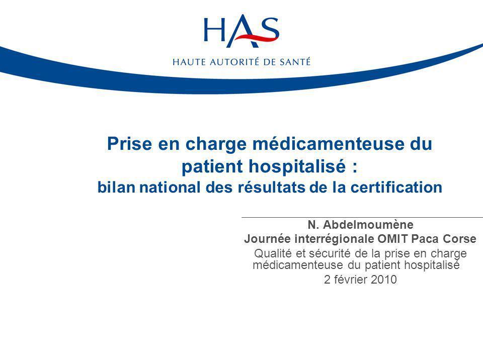 Prise en charge médicamenteuse du patient hospitalisé : bilan national des résultats de la certification N. Abdelmoumène Journée interrégionale OMIT P