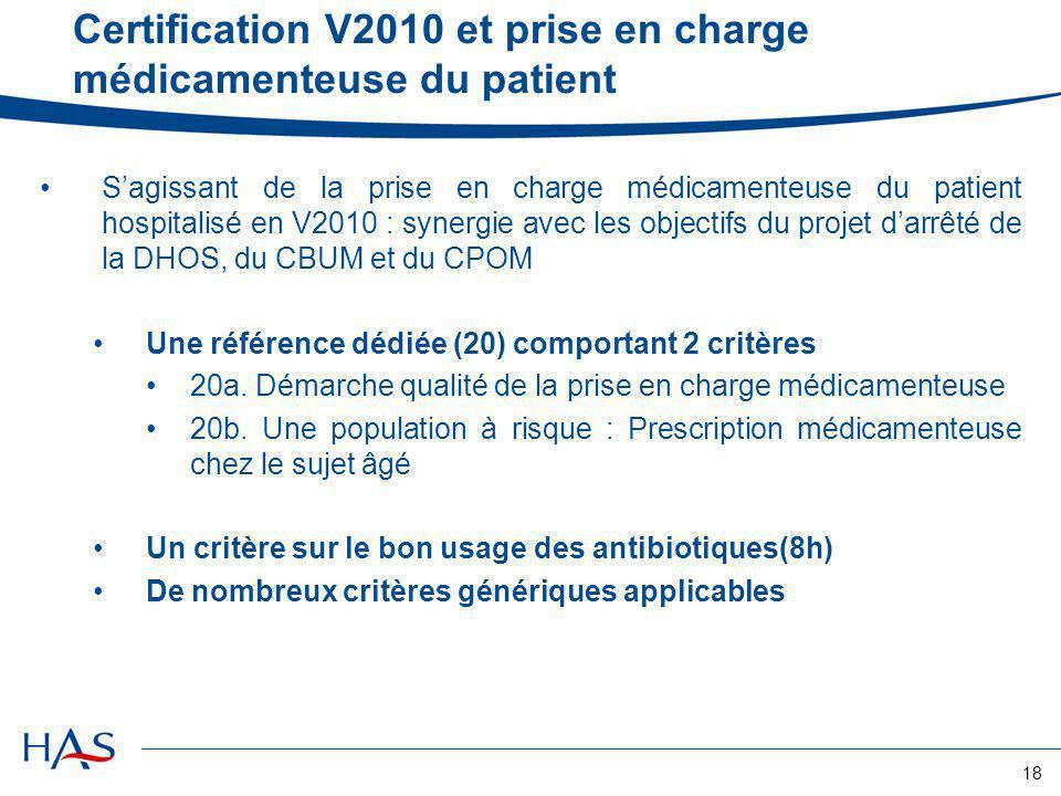 18 Certification V2010 et prise en charge médicamenteuse du patient Sagissant de la prise en charge médicamenteuse du patient hospitalisé en V2010 : s