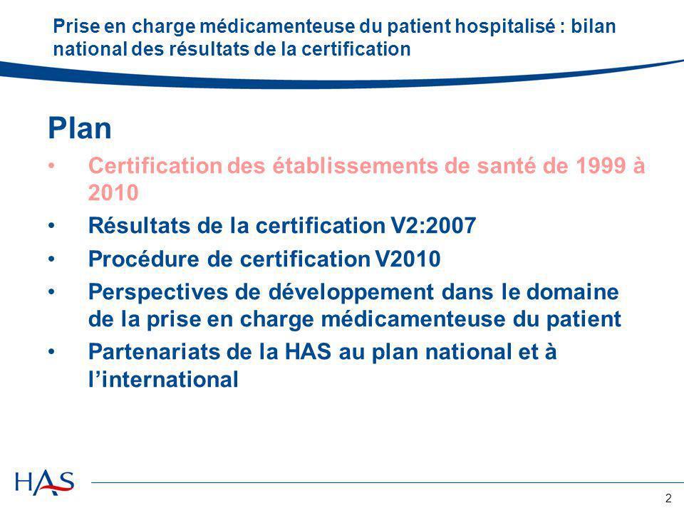 2 Prise en charge médicamenteuse du patient hospitalisé : bilan national des résultats de la certification Plan Certification des établissements de sa