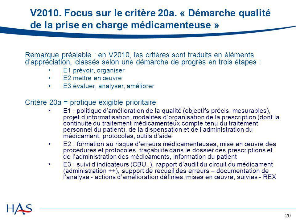 20 V2010. Focus sur le critère 20a. « Démarche qualité de la prise en charge médicamenteuse » Remarque préalable : en V2010, les critères sont traduit