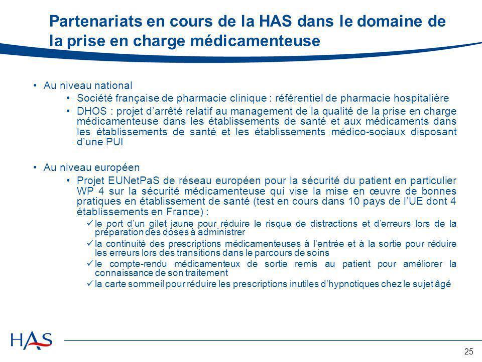 25 Partenariats en cours de la HAS dans le domaine de la prise en charge médicamenteuse Au niveau national Société française de pharmacie clinique : r