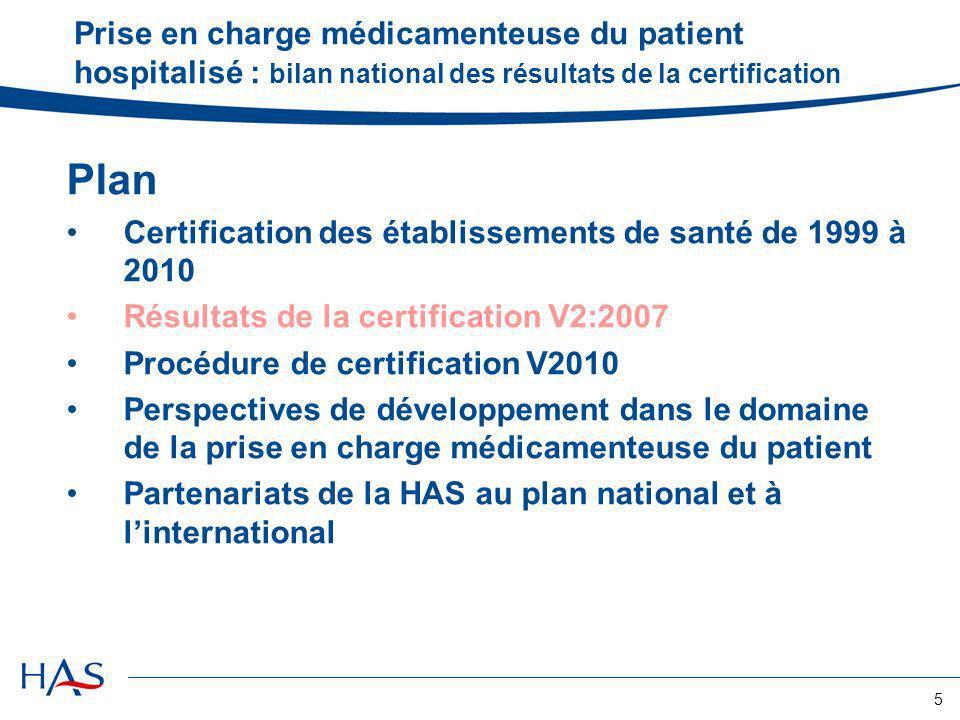 5 Prise en charge médicamenteuse du patient hospitalisé : bilan national des résultats de la certification Plan Certification des établissements de sa